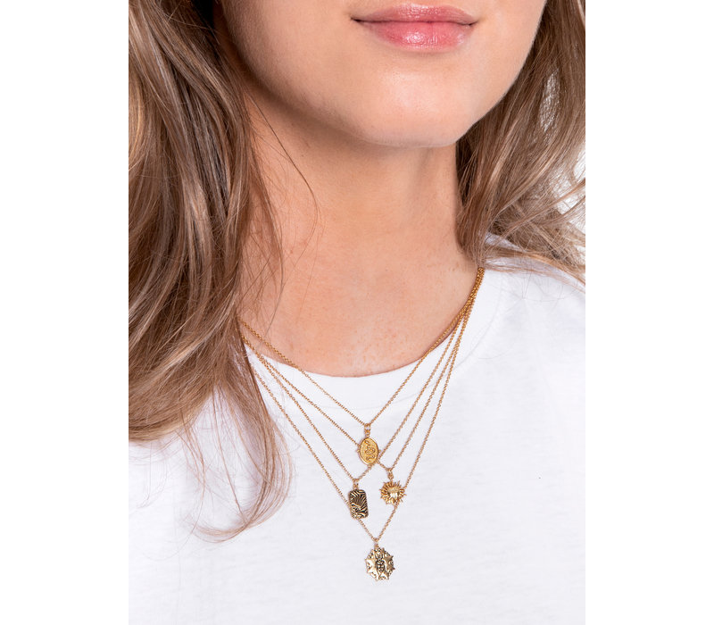 Charm Goldplated Necklace Snake Oval