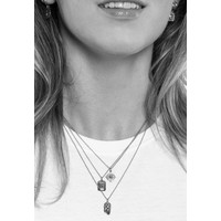 Charm Silverplated Necklace Rose Circle