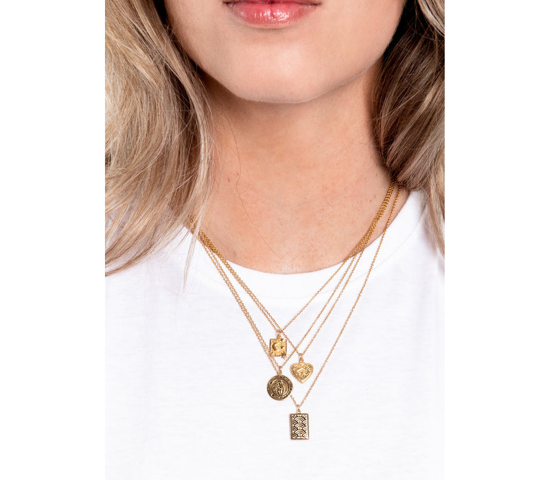 Charm Goldplated Necklace Rainbow Rectangle