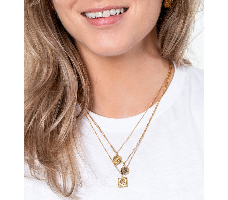 Charm Goldplated Necklace Peony Square