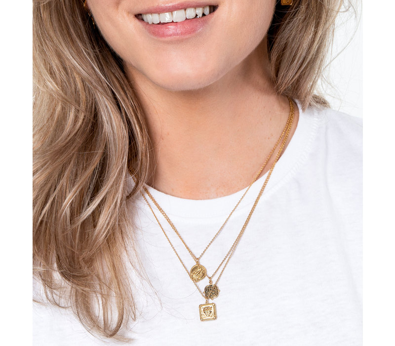 Charm Goldplated Necklace Panter Square
