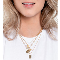 Charm Goldplated Necklace Moon Stars Square