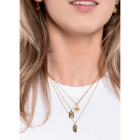 Charm Goldplated Necklace Moon Stars Rectangle