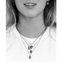 Charm Silverplated Ketting Kolibrie Rechthoek