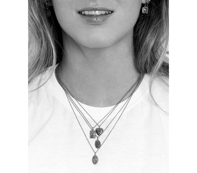 Charm Silverplated Necklace Hummingbird Rectangle