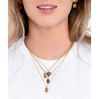 Charm Goldplated Necklace Hummingbird Rectangle