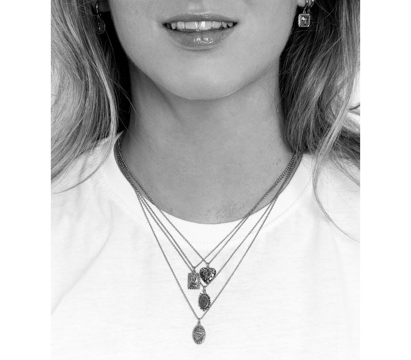 Charm Silverplated Ketting Diamant Hart