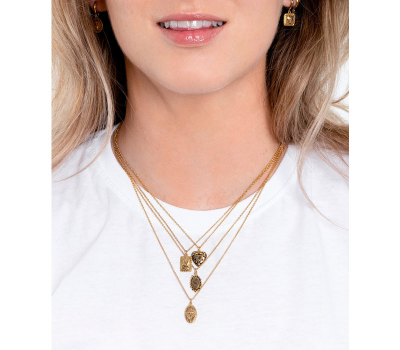 Charm Goldplated Necklace Diamond Heart