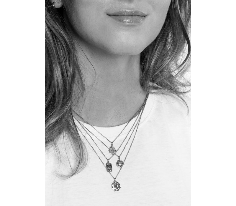 Charm Silverplated Necklace Beatle Starry Circle