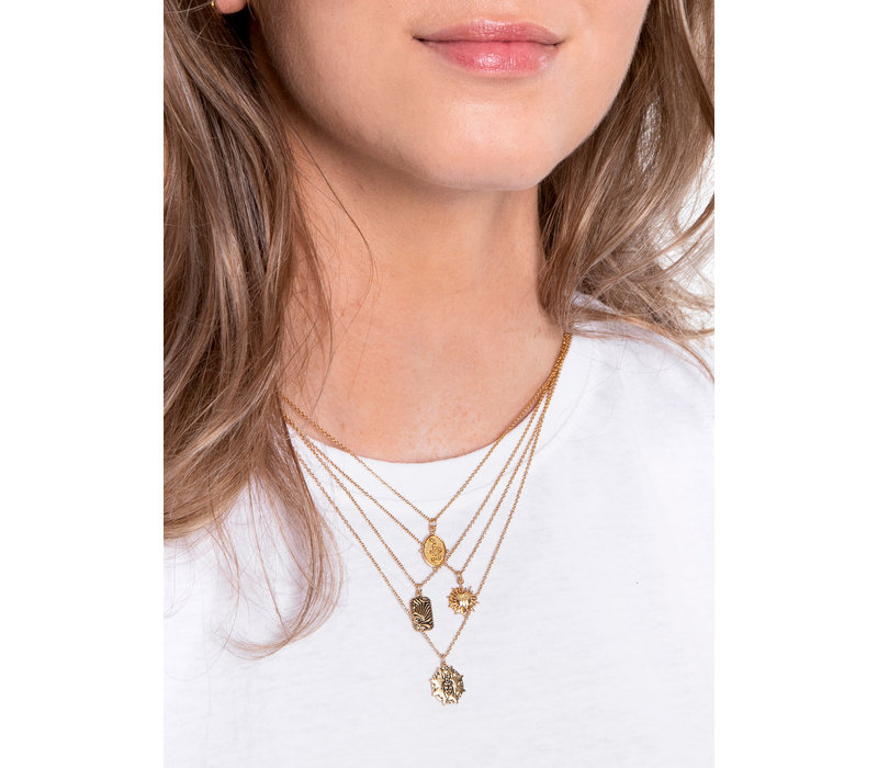 Charm Goldplated Necklace Beatle Starry Circle