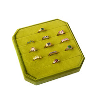 Fluweel ring display box Olijfgroen