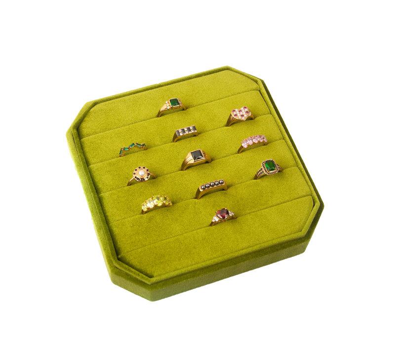 Velvet ring display box Olive green
