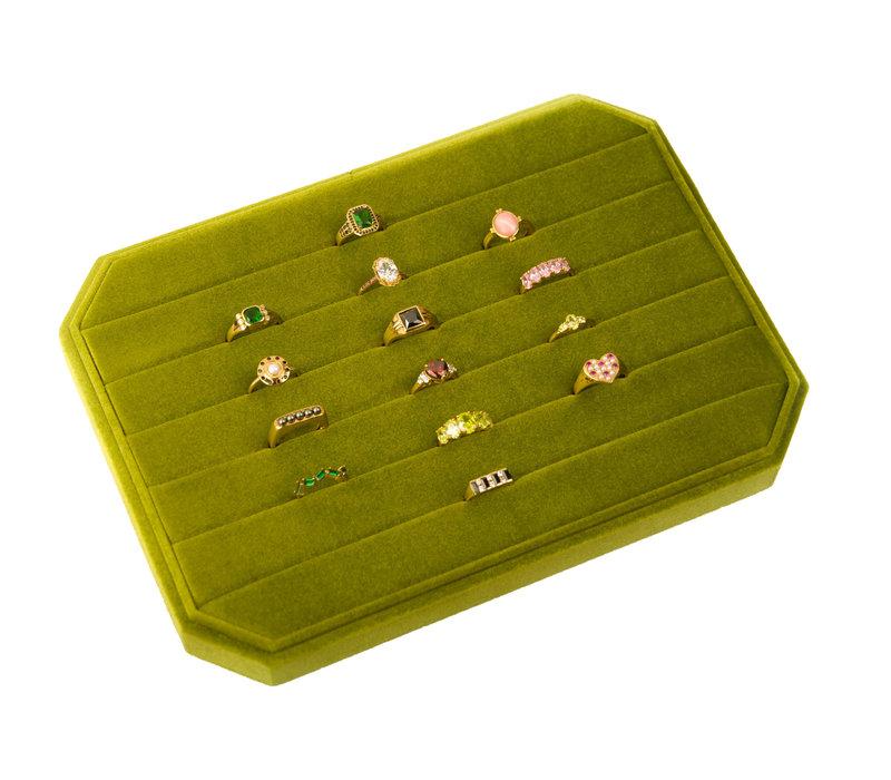 Velvet ring display box Olive green large