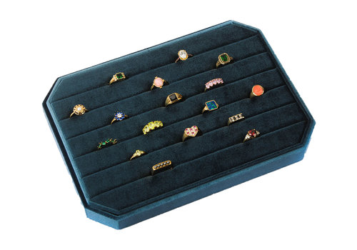 All the Luck in the World Velvet ring display box Blue large
