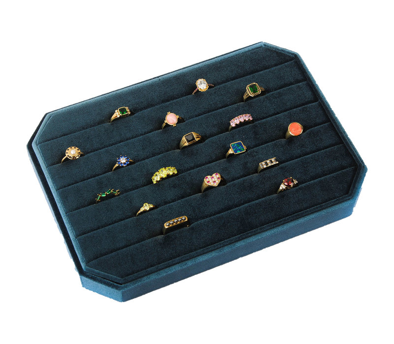 Fluweel ring display box Blauw groot