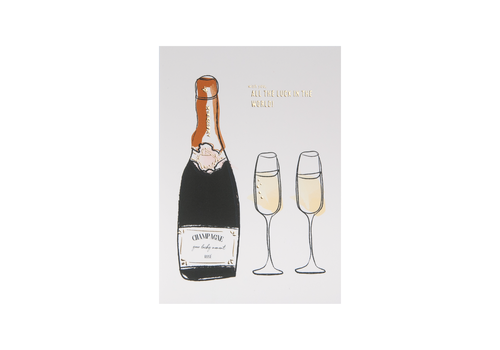 All the Luck in the World Postcard Champagne
