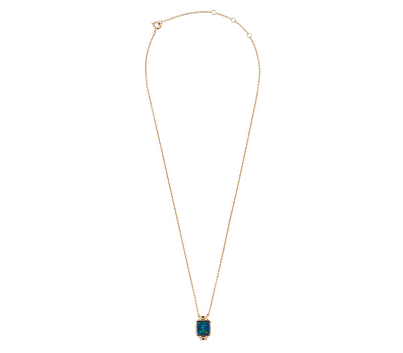 Amour Goldplated Ketting Vierkant Blauw