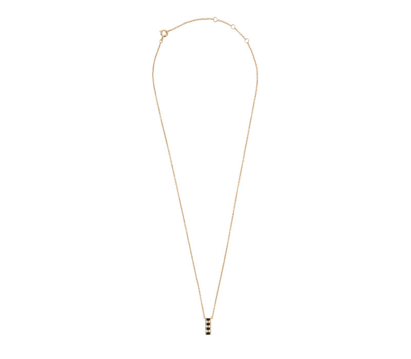 Amour Goldplated Necklace Bar Black Clear
