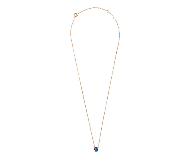 Amour Goldplated Ketting Bloem Donkerblauw