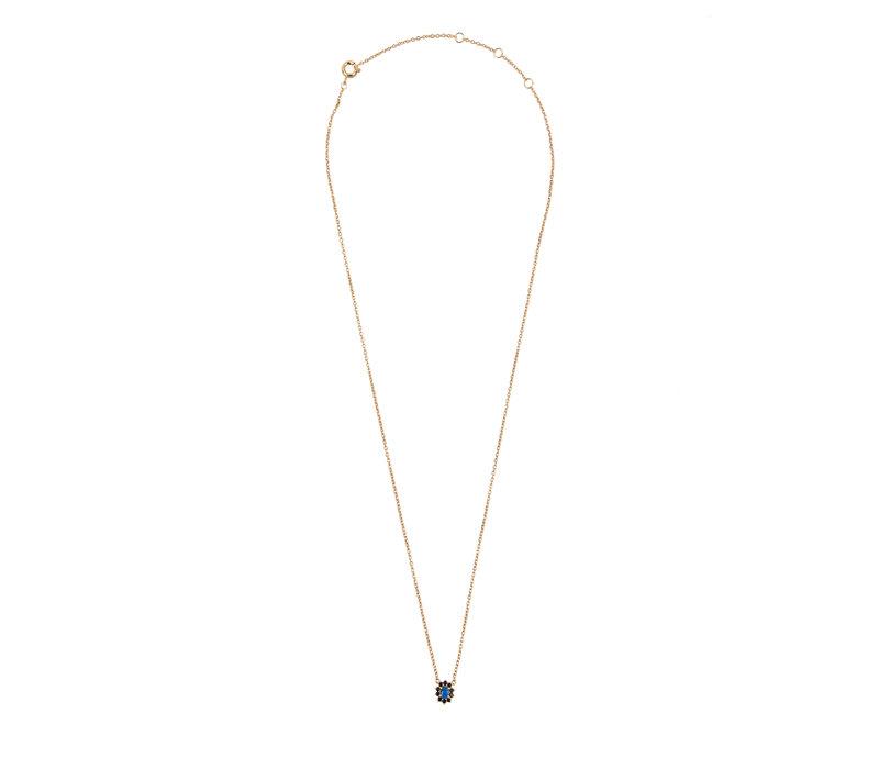Necklace Flower Dark blue plated