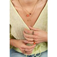 Necklace Signet Oval Orange plated