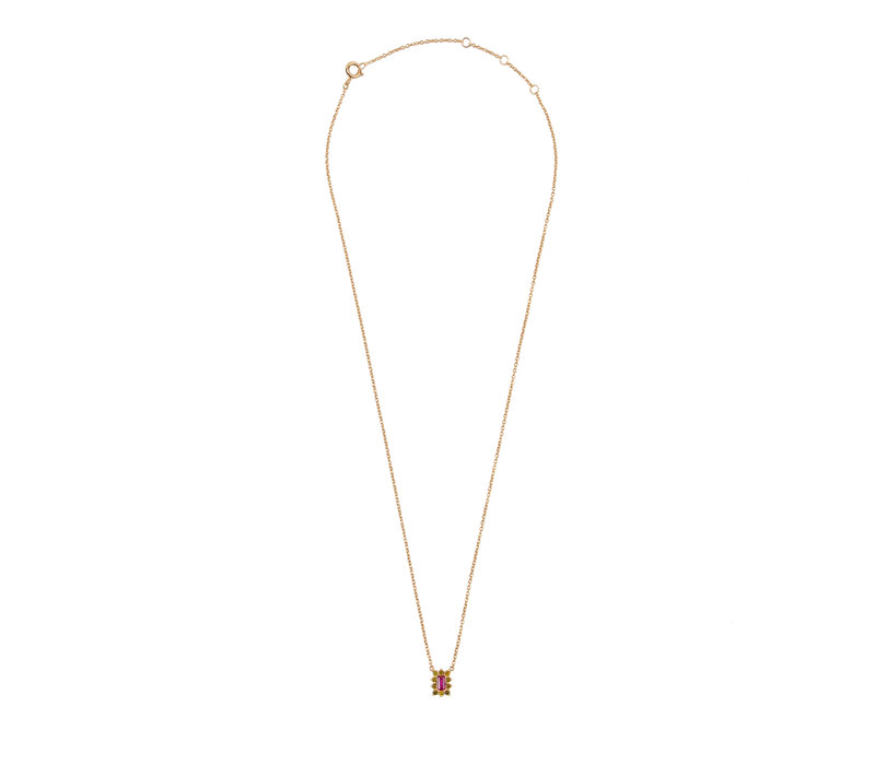 Amour Goldplated Necklace Rectangle Flower Pink Green