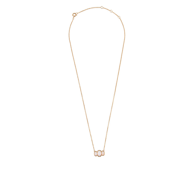 Necklace Ovals White plated