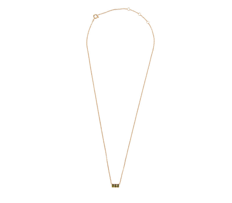 Necklace Bar Small Green plated