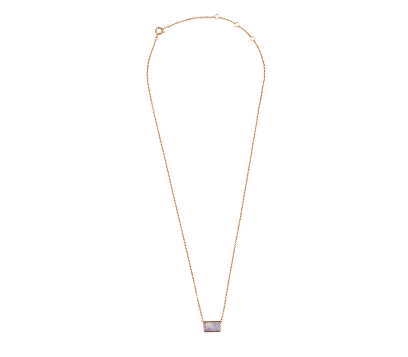 Amour Goldplated Ketting Rechthoek Marmer Lila