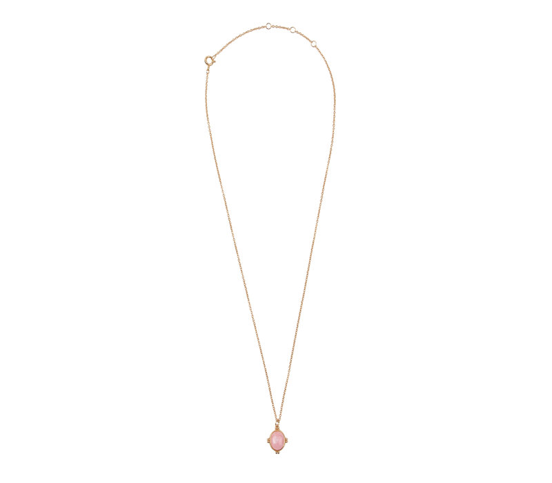 Amour Goldplated Ketting Oval Marmer Lichtroze