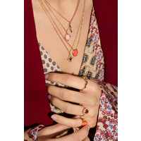 Amour Goldplated Necklace Oval Marble Light Pink