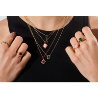 Necklace Rectangle Green Black plated