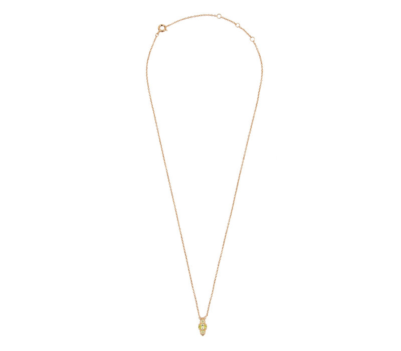 Amour Goldplated Necklace Ovals Small Lime