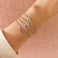 Character Silverplated Armband letter A