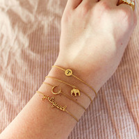 Character Goldplated Armband letter T