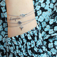 Character Silverplated Armband letter I