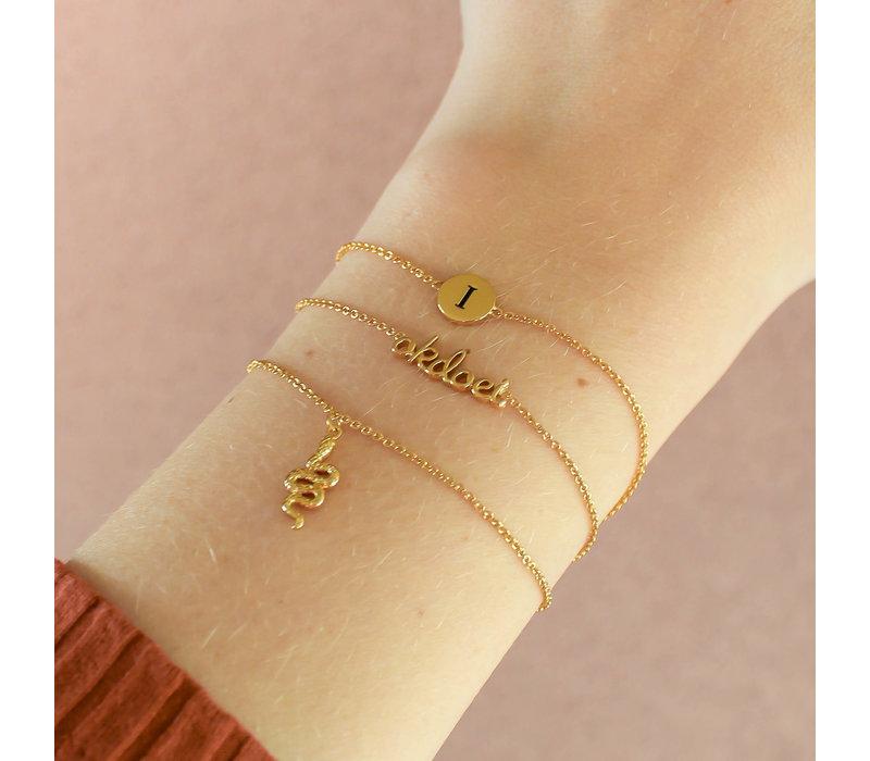 Character Goldplated Bracelet letter I