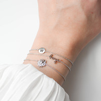 Character Silverplated Bracelet letter W