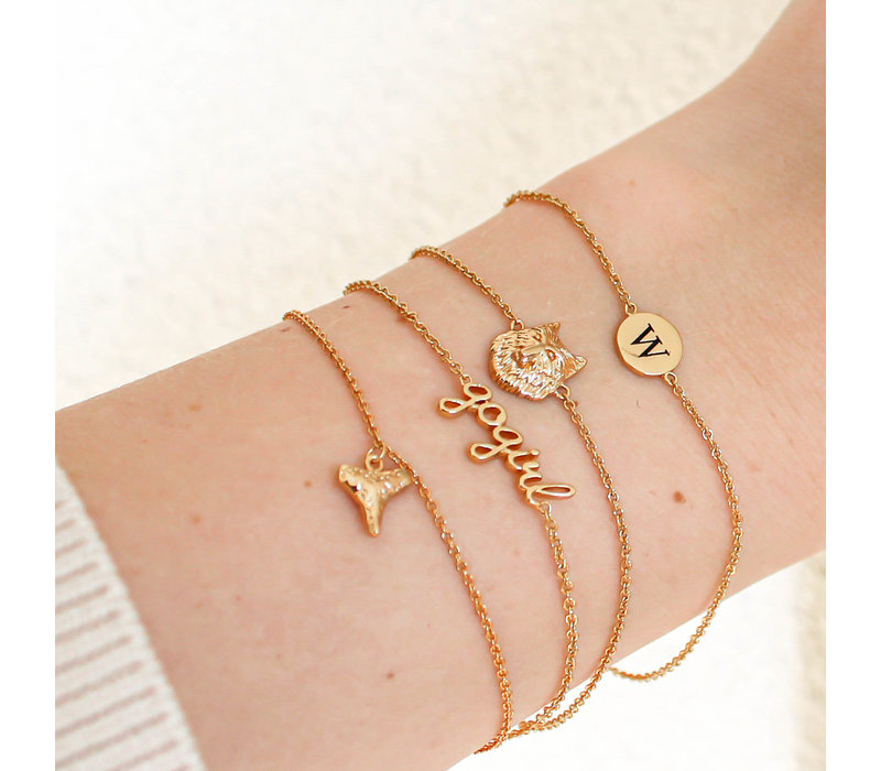 Character Goldplated Bracelet letter W