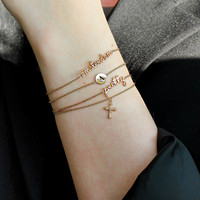Souvenir Goldplated Armband Kruis