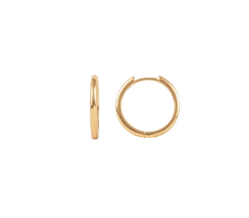 Essentials Goldplated Hoop Huggie Plain Medium