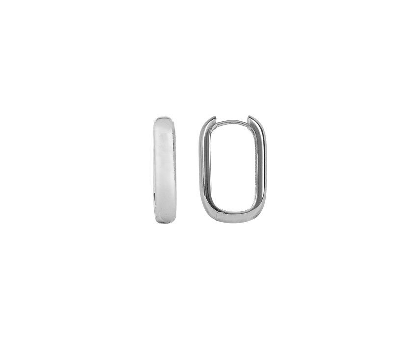 Essentials Silverplated Hoop Huggie Oval Plain