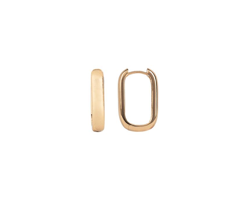 Essentials Goldplated Hoop Huggie Ovaal Egaal
