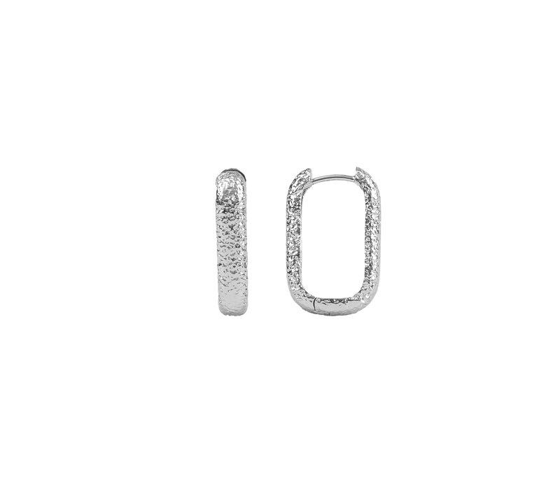 Essentials Silverplated Hoop Huggie Ovaal Antiek