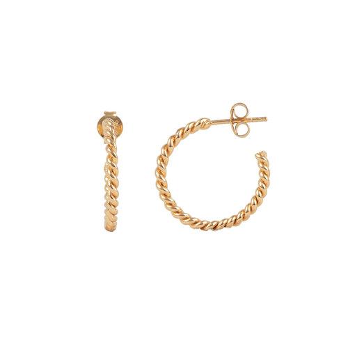 Essentials Goldplated Hoop Steker Klein Gedraaid
