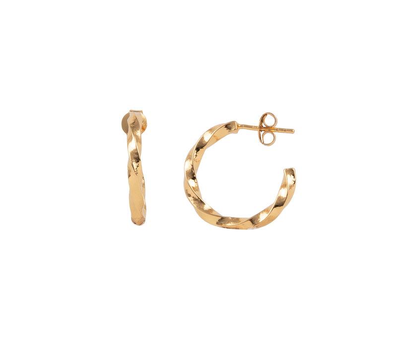 Essentials Goldplated Hoop Steker Groot Vierkant Gedraaid