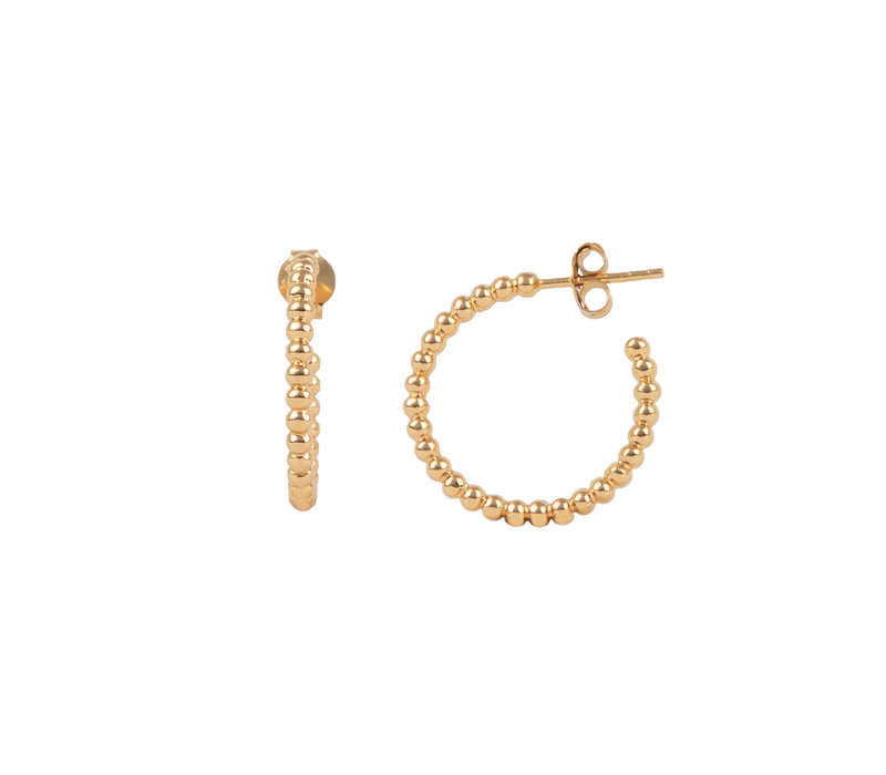Essentials Goldplated Hoop Steker Bolletjes