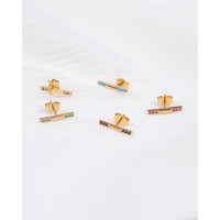 Bliss Goldplated Oorbel Bar Onyx zwart