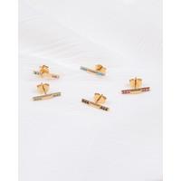 Bliss Goldplated Oorbel Bar Multi