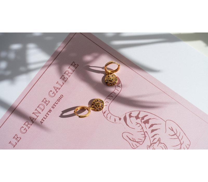 Bold Goldplated Earring Sun Circle Purple Pink